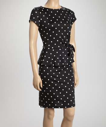 Shelby & Palmer Black & White Polka Dot Bow Peplum Dress
