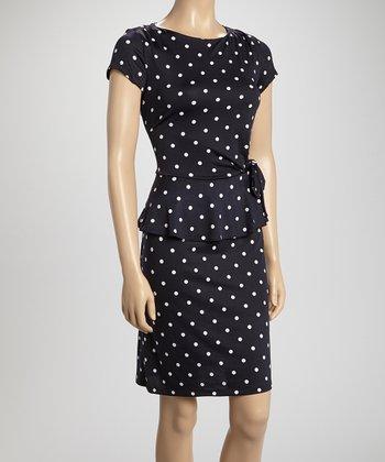 Shelby & Palmer Navy & White Polka Dot Bow Peplum Dress