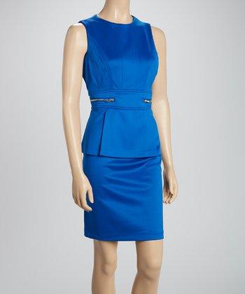 Shelby & Palmer Cobalt Zipper Peplum Dress