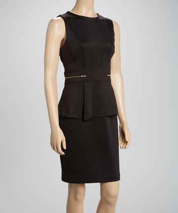 Shelby & Palmer Black Zipper Peplum Dress