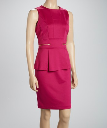 Shelby & Palmer Berry Zipper Peplum Dress