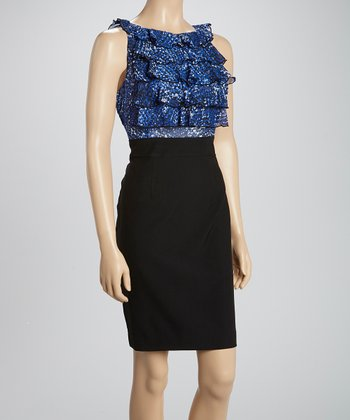 Shelby & Palmer Black & Cobalt Ruffle Sleeveless Dress