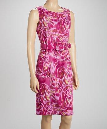 Voir Voir Fuchsia Ikat Belted Sleeveless Dress