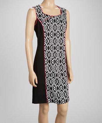 Voir Voir Fuchsia & Black Geometric Sleeveless Dress