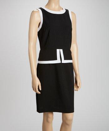 Voir Voir Black & White Color Block Peplum Dress