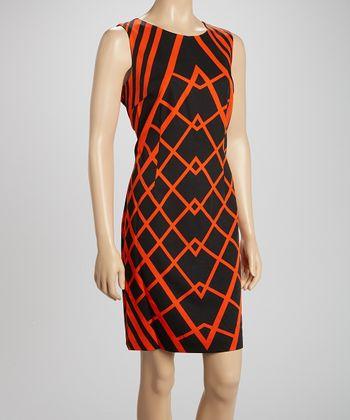 Voir Voir Black & Orange Geometric Sleeveless Dress