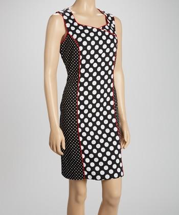 Voir Voir Red & Black Polka Dot Sleeveless Dress