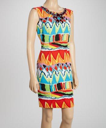 Voir Voir Orange & Blue Embellished Sheath Dress