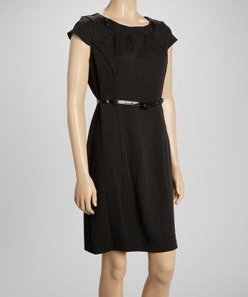 Voir Voir Black Button Belted Sheath Dress