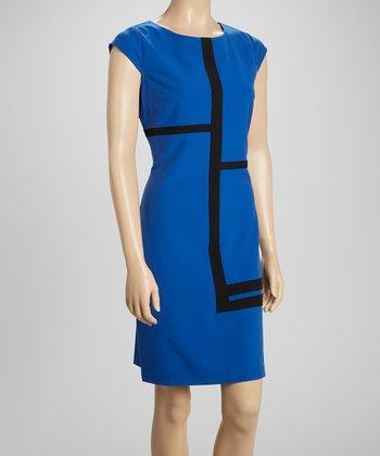 Voir Voir Royal Blue & Black Color Block Sheath Dress