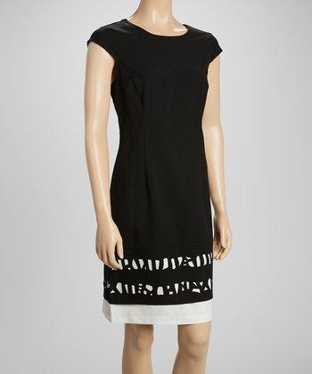 Ivory & Black Laser-Cut Sheath Dress