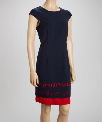Navy & Red Laser-Cut Sheath Dress