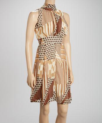 Voir Voir Taupe & Brown Polka Dot Sleeveless Dress
