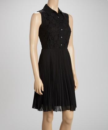 Black Lace Sleeveless Shirt Dress