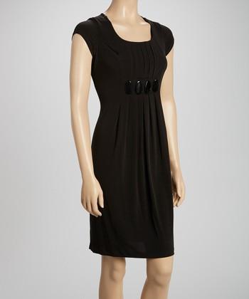 Voir Voir Black Stone Pleated Shift Dress