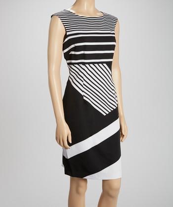 Voir Voir Black & White Stripe Sheath Dress