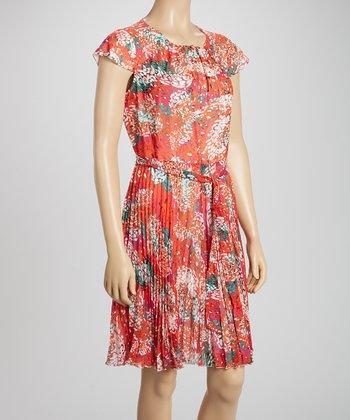 Voir Voir Fuchsia & Orange Tie-Waist A-Line Dress