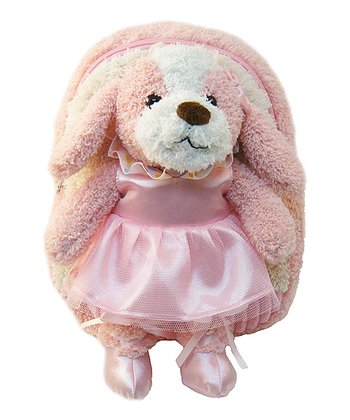 Pink Ballet Puppy Plush Backpack