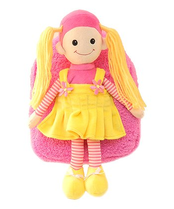 Pink Blonde Girl Plush Backpack
