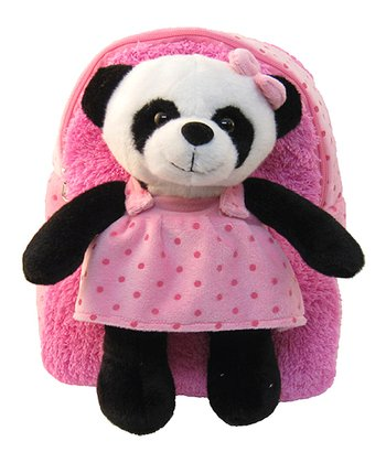 Pink Panda Plush Backpack