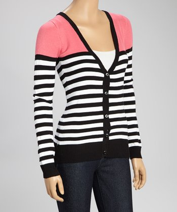Pink & Black Stripe V-Neck Cardigan - Women