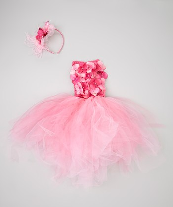 Pink Flower Crocheted Dress & Flower Headband - Infant & Toddler