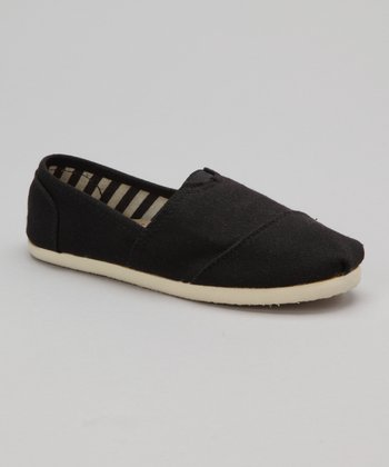 Black Canvas Slip-On Shoe