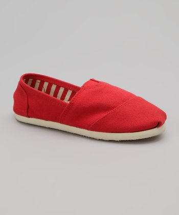 Red Canvas Slip-On Shoe
