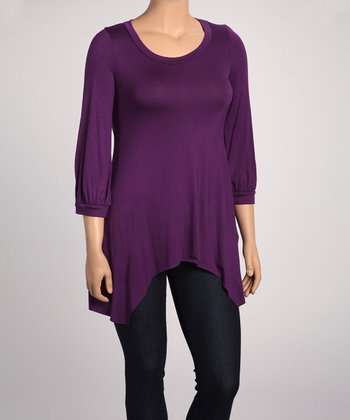 Plum Solid Sidetail Top - Plus