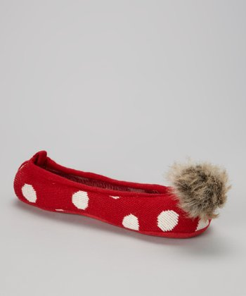 Red Polka Dot Knit Slippers