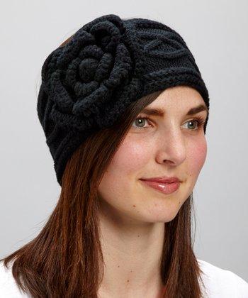 Black Cable-Knit Flower Head Wrap