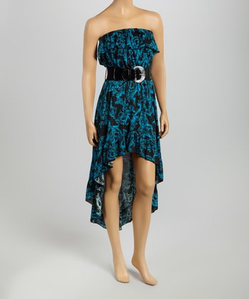 Turquoise Belted Strapless Dress