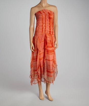 Coral Tie-Dye Ruffle Dress