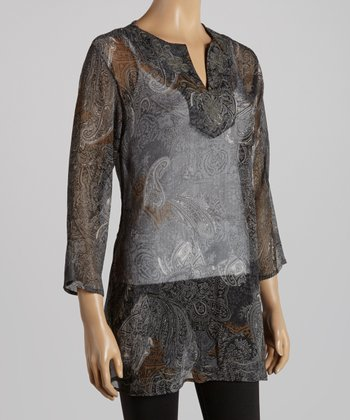 Gray Paisley Tunic