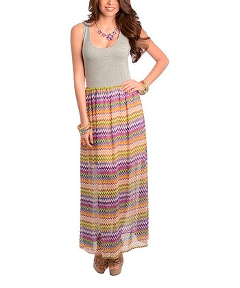 Gray & Fuchsia Zigzag Maxi Dress