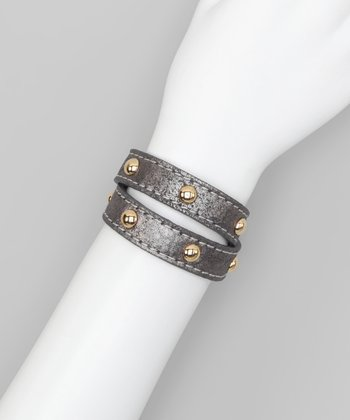 Gunmetal Studded Leather Wrap Bracelet