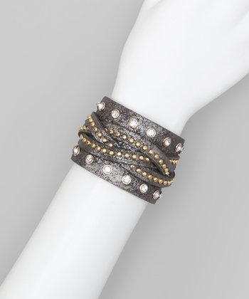 Gunmetal Braided Mini Stud & Rhinestone Cuff