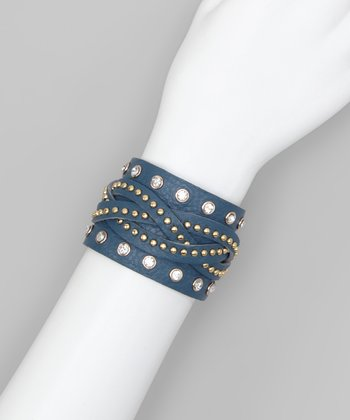 Denim Blue Braided Mini Stud & Rhinestone Cuff