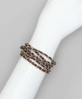 Brown Woven Chain Wrap Bracelet