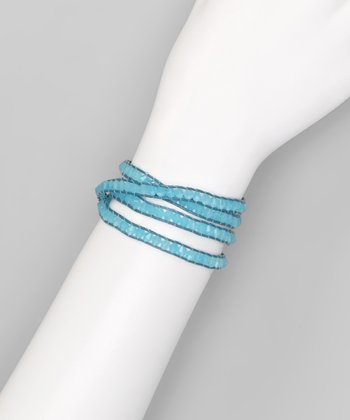 Aqua Beaded Leather Wrap Bracelet