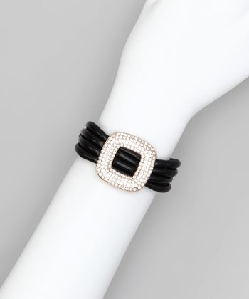 Black Pavé Open Square Bracelet