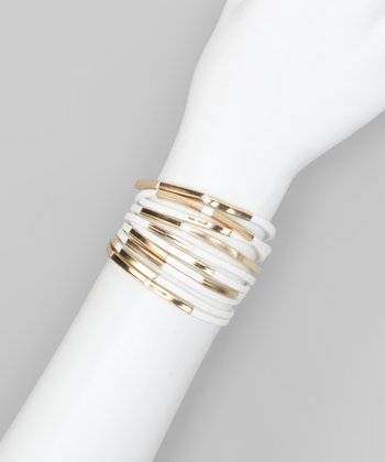 White Metal Tube Layered Bracelet