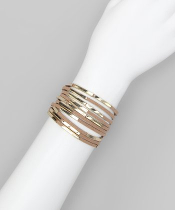 Khaki Metal Tube Layered Bracelet