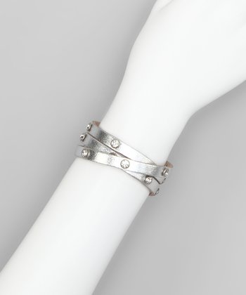 Silver Metallic Rhinestone Leather Wrap