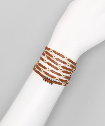 Cream & Tan Woven Buckle Leather Wrap Bracelet