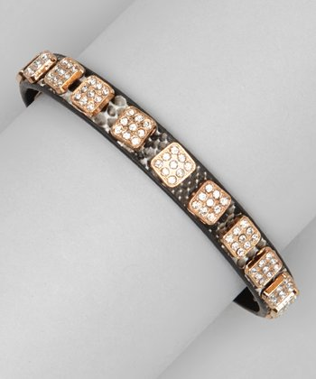 Dark Brown Snakeskin Sparkle Square-Studded Bracelet