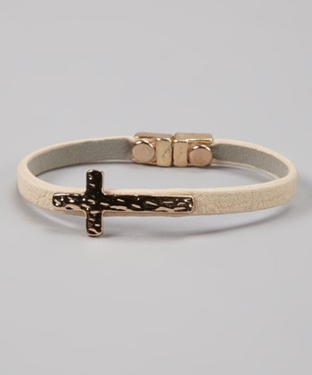 Beige & Gold Cross Bracelet