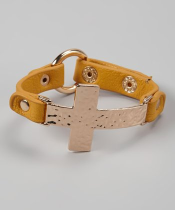 Mustard & Gold Hammered Cross Bracelet