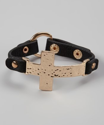 Black & Gold Hammered Cross Bracelet