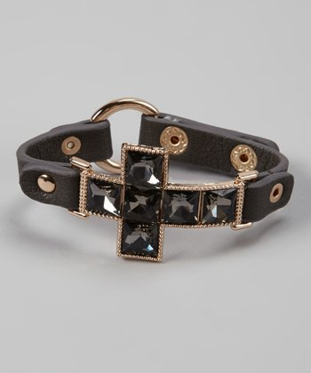 Dark Gray & Gold Sparkle Cross Bracelet